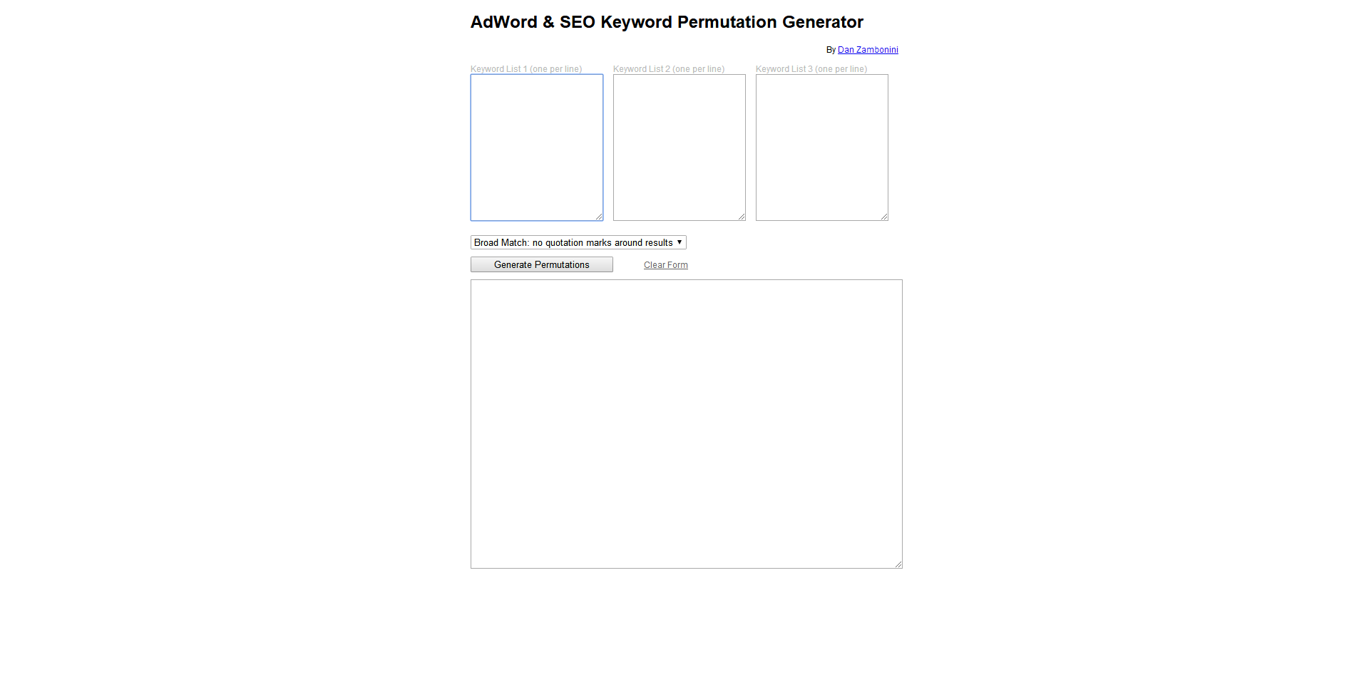 AdWord & SEO Keyword Permutation Generator-one
